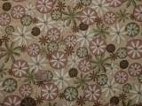 Tissu patchwork beige à fleurs roses et vertes