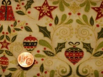 tissu patchwork noel fond beige motifs d cors de no l rouges verts soulign s or. Black Bedroom Furniture Sets. Home Design Ideas