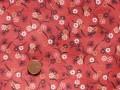 Tissu patchwork rouge, marron et rose