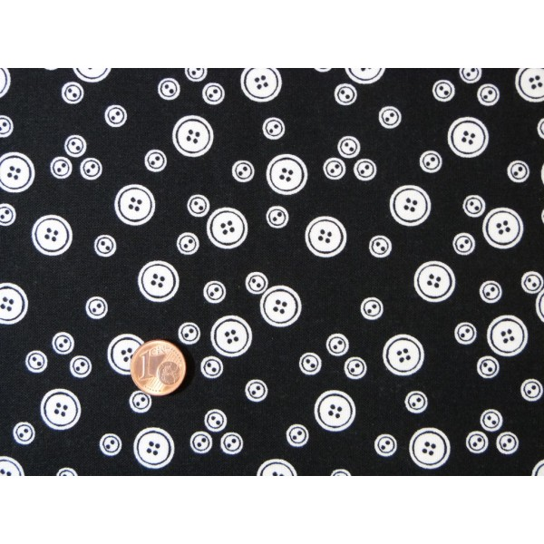 Tissu patchwork fond noir motifs boutons blancs - Tissus noir et blanc ...