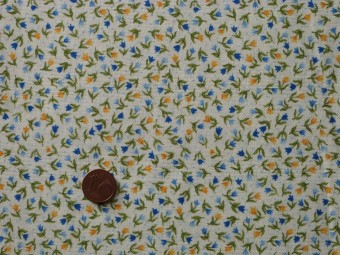 tissu patchwork fond blanc fleurs bleueset jaune feuillages verts. Black Bedroom Furniture Sets. Home Design Ideas