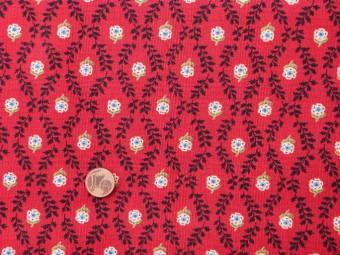 tissu patchwork fond rouge fleurs blanche bleues et vertes feuillage noir. Black Bedroom Furniture Sets. Home Design Ideas
