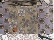 Tissu patchwork Panneau noir, gris, blanc et or