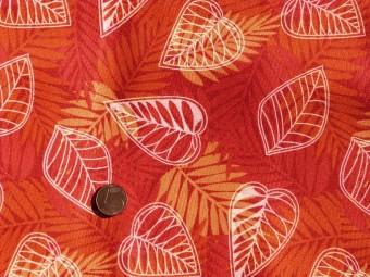 Tissu patchwork rouge, orange, jaune et blanc