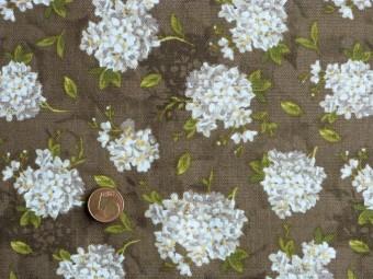 Tissu patchwork marron, vert, beige et jaune