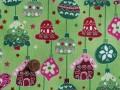 Tissu patchwork Noel vert, rouge et rose