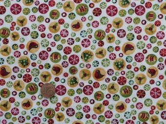 Tissu patchwork Noel beige, rouge, jaune et vert
