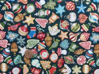 Tissu patchwork Noel  vert, rouge, bleu et or