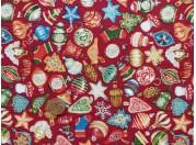 Tissu patchwork Noel  rouge, vert, bleu et or