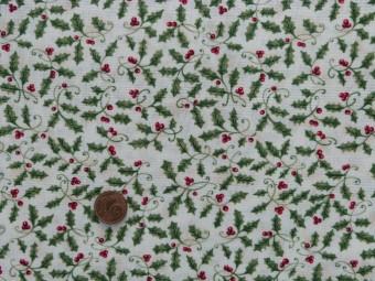 Tissu patchwork beige, vert et rouge
