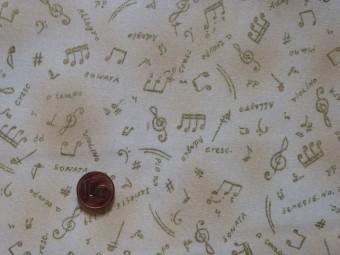 Tissu patchwork Noel beige et or