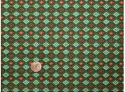 Tissu patchwork vert, marron et bleu