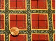 Tissu patchwork Noel bordeaux, vert et or