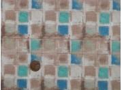 Tissu patchwork beige, bleu et vert