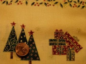 Tissu patchwork Noel beige, rouge, vert et or