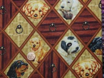 Tissu patchwork marron, ocre, beige, et noir