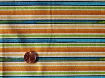 Tissu patchwork orange, bleu, vert et jaune