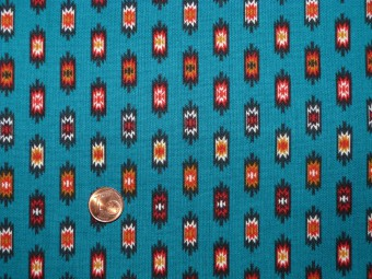 Tissu patchwork bleu, rouge, orange et noir
