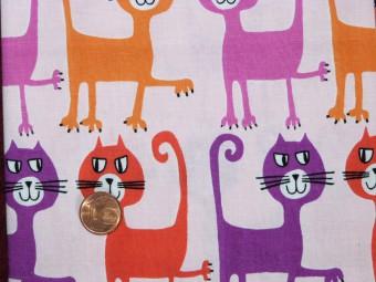Tissu patchwork rose, violet, rouge et orange