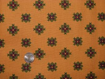 Tissu patchwork orange, vert et rouge