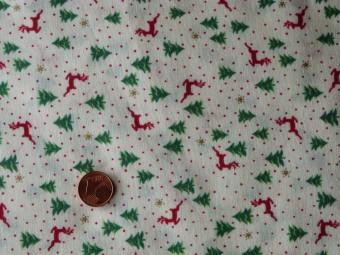 Tissu patchwork Noel écru, rouge, vert et or