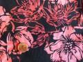 Tissu patchwork Batik noir,  fleurs roses et rouges