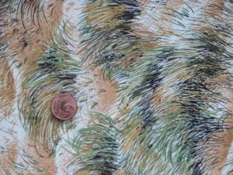 Tissu patchwork beige, vert et marron