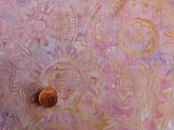 Tissu patchwork Batik rose, jaune et violet