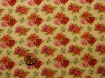 Tissu patchwork beige, vert, rose et bleu