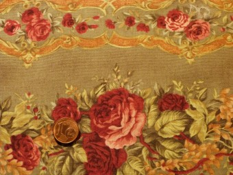 Tissu patchwork vert, rose et orange