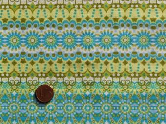 Tissu patchwork vert, anis, jaune et blanc