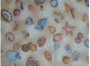 Tissu patchwork imprimé Plage et coquillages