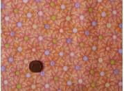 Tissu patchwork orange, rose, violet et vert