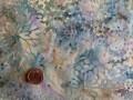 Tissu patchwork Batik vert, beige et violet