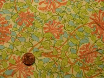 Tissu patchwork vert, rose et beige
