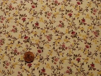 Tissu patchwork blanc, rose, jaune et vert