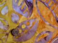 Tissu patchwork Batik jaune, rose et violet
