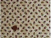 Tissu patchwork beige, rouge et vert