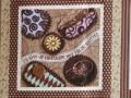 Tissu patchwork Panneau marron, rose, bleu et beige