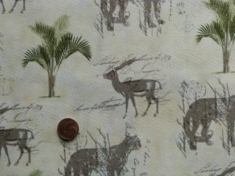 Tissu patchwork beige, vert et gris